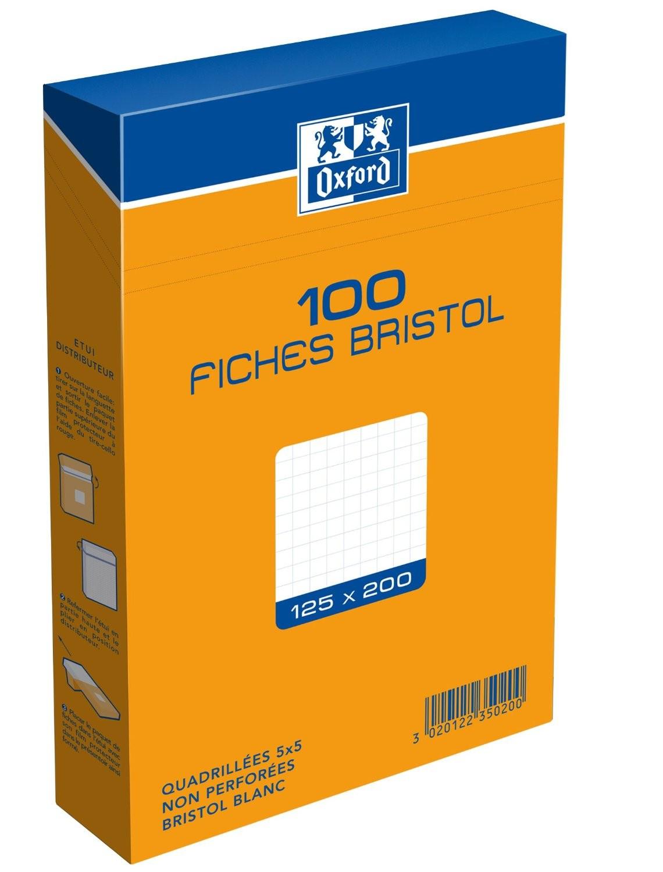 ETUI DE 100 FICHES BRISTOL BLANCHES 12,5*20 QUADRILLEES